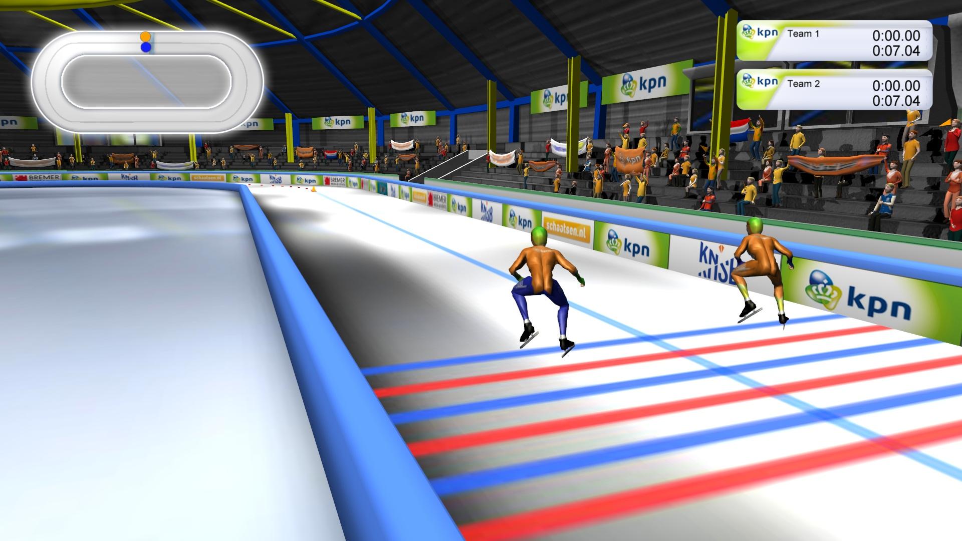 Beeld schaatssimulator start van achter