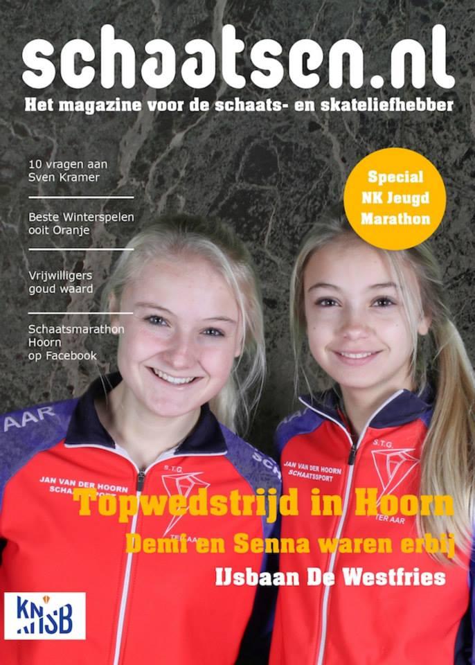 Voorbeeld fotoactie twee blonde tieners schaatsen