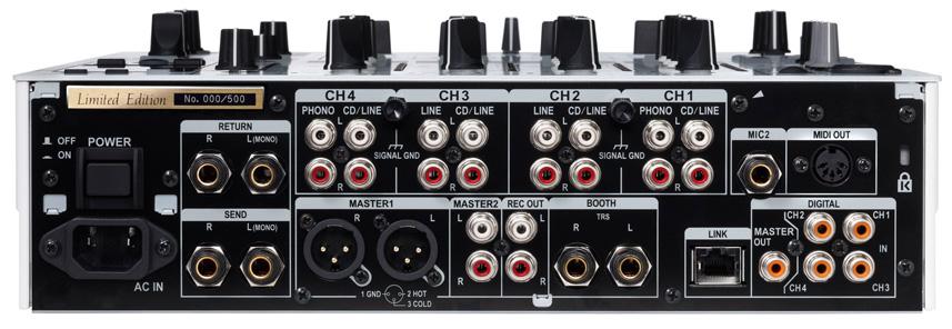 Achterkant Pioneer DJM 900 Nexus mixer verhuur