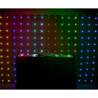 Chauvet motion drape achter een dj-booth die te huur is