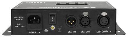Achterkant van Chauvet motion drape besturingscomputer met DMX in- en uitgang voor verhuur