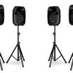 Geluidsset voor 100 personen van Skytec SPJ speakers die te huren is